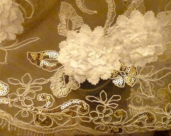 Beautiful sheer netting lace fabric with flowers and sequins 2 1/4 yards