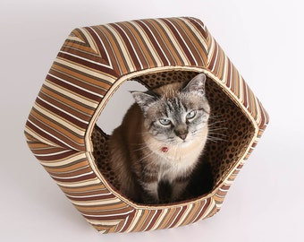 Cat Ball Modern Cat Furniture, Cave Style Pet Bed Made in Brown Stripes Cotton Fabric