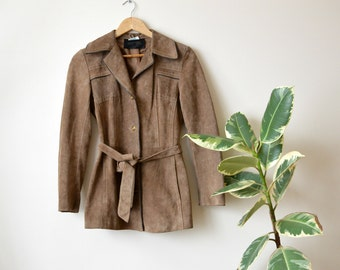 Suede Leather Jacket // 1970s Womens Size 36 Small US 10 // Cocoa Light Brown Vintage Coat