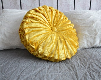 Handmade Velvet Round Pillow Pintuck Decorative Yellow Cushions Pillow Home Decor