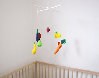 Veggie and Fruit Mobile, Baby Mobile, Felt Mobile, Baby Nursery, Childrens Decore, Baby Shower Gift, Plush Fruit, Plush Veggies