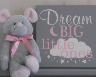 Dream Big Little Ones, Gifts for Twins, Twin Baby Nursery Decor, Twins Gift, Gray, Light Pink, Yellow, Navy Blue