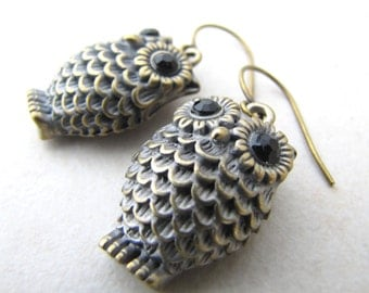 Owl Earrings, Brass Owl, Bird Earrings, Bird Lover, Steampunk