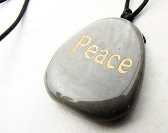 Mens Necklace, Mans Necklace, Unisex, Peace Necklace, Gemstone Necklace, Jasper Necklace, Jasper Gemstone, Stone Necklace