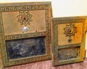 Pair of 1965 Brass USPS Mailbox Doors.  Key Lock with No Keys.  One Large and One Small.    G-008