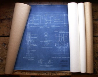 Vintage Roll of Warehouse Blueprints - Retro Wall Decor!