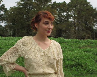 70's Vintage Crochet Lace Dress Jacket Skirt small