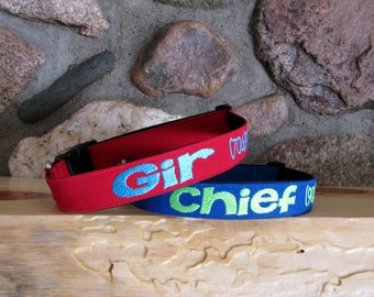 Personalized Dog Collar, RED Twill Adjustable Dog Collar -  Embroidered