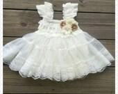 Flower Girl Dress - baby Flower girl dresses - Baby Lace Dress - Rustic Flower Girl dress- Junior Bridesmaid-  Country wedding