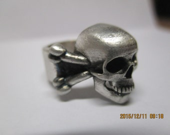 Skull ring- Large Skull ring-Hand carved realistic skull, large, matte finish sterling silver with subtle black antique finish