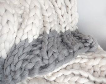 Giant Knit, Chunky Blanket, Knit Blanket, Chunky, Throw, 32x54""