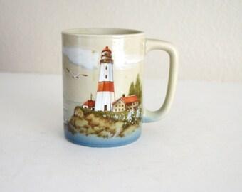 Vintage 70s 80s Otagiri Japan Made Lighthouse Sailboat Coffee Mug Cup