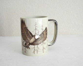 Fall SALE 20% Off - Vintage 70s 80s Eagle Bald Eagle Mug Coffee Cup - Otagiri Style