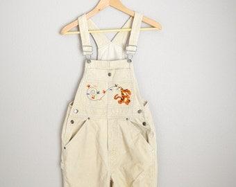 Vintage 90s Tan Corduroy Disney Tigger Overall Pants // Dungarees - womens xsmall