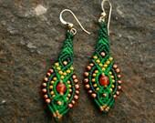 Forrest green beaded earrings/ boho earrings/ long dangle earrings