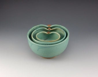 Green Turquoise Handmade Pottery Nesting Bowls