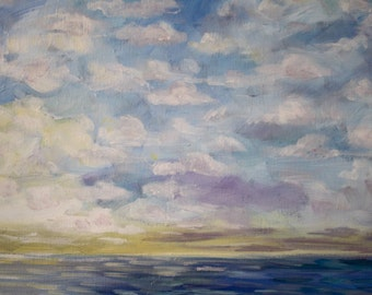 Beach Painting, Original Art Acrylic, Lake Erie Painting, clouds lake, fine art home decor, wall art cottage, living room art, seascape