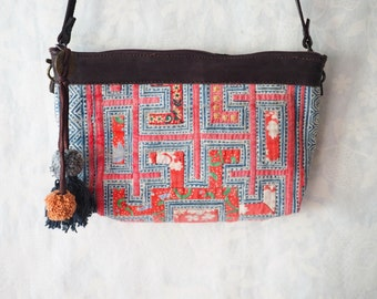 Leather Recycle Bohemian bag, Crossbody Hilltribe Bag, Thai Ethnic Bag, Pom Pom Hmong Bag, Embroidered Purse, Hippie Bag, Clutch Sling Bag