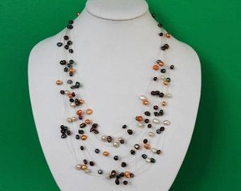 Beautiful Multistrand Multicolor Freshwater Pearl Illusion Necklace