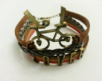 50% OFF - 1/2 PRICE - Bike Lover Charm Multi-Layer Leather and Suede Adjustable Bracelet - LBLTML02