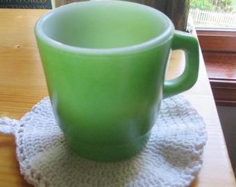 Vintage Green Fire King Anchor Hocking Milk Glass Coffee Cup