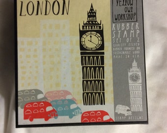 Yellow owl workshop big ben tower london taxi british britain rubber stamp set