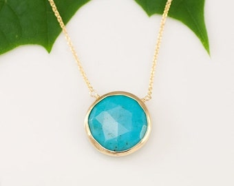 40 OFF - Turquoise Necklace - December Birthstone - Layer Necklace - bezel set necklace - gemstone necklace - Gold necklace