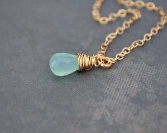 Handmade Peruvian Aqua Chalcedony Necklace, 14K Gold Filled, Gift Under 40
