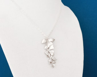 Silver Wild Orchid Necklace, Sterling Silver Chain, Cascading Flower Necklace, Gift Under 30