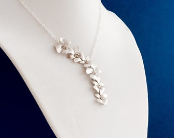 Elongated Silver Cherry Blossom Necklace, Sterling Silver Chain,  Wedding Jewelry, Gift Under 35