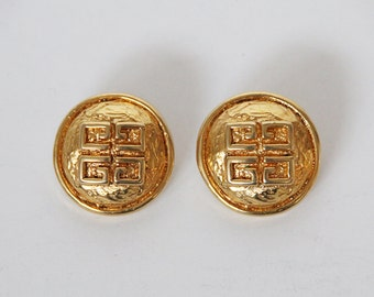 Vintage Givenchy Gold Tone Clip Back  Earrings - 80s
