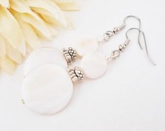 Bridal Earrings, White Drop Earrings, Clip On Pewter Earrings, Mother of Pearl, White Shell Earrings, Birthday Gift for Her, Mother of Bride