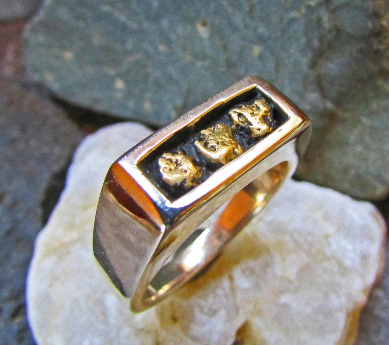Gold Nugget Ring Gold Nugget Band Natural Gold Nuggets 14k