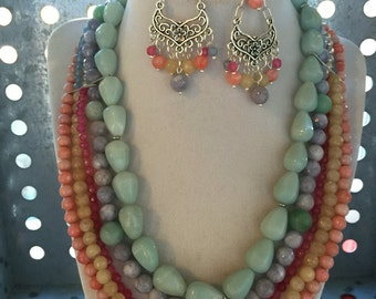 Pastel and Turquoise Beaded Multi Strand Necklace and Earring Set