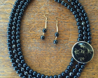 Black and Gold Beaded Multi Strand Necklace and Earring Set
