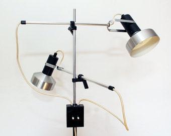 Vintage 1960's Maclamp - Floor Lamp - Conran - Twin Spot - Black & Brush Aluminium - Mid Century Modern - Industrial