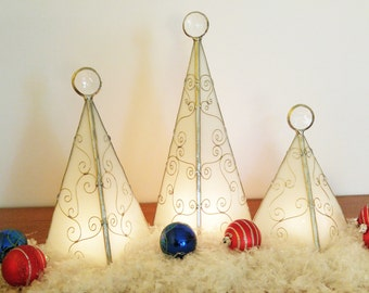 White Holiday tree stained glass candle holder Christmas mantle decor