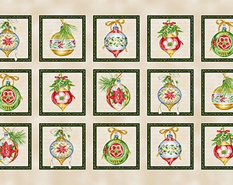Christmas Elegance Cream Ornament Blocks 24x44 panel premium cotton fabric by Janes Garden for Henry Glass