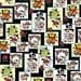 Ed Hardy Love Is True Patches Black premium cotton fabric from Quilting Treasures - skulls, tattoo, roses
