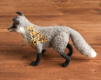 Forsythia Fox Soft Sculpture, Grey Needle Felted Fox, Felt Fox, Yellow and Grey, Gray, Floral, Woodland, Collectible, Miniature