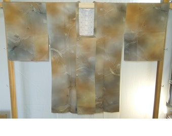 Earth tones silk michiyuki - a vintage kimono jacket