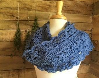 Slate blue crichet lace scarf, fall, winter scarf, crochet lace, long scarf, light scarf, crichet scarf, wrap, snood, periwinkle
