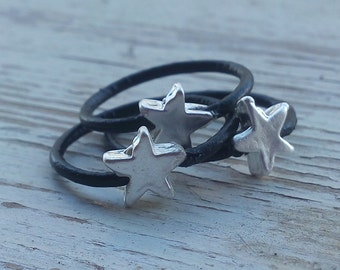 3 Silver leather rings - Black leather stacking rings with stars , minimalist jewelry , boho leather rings