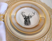 Gold Deer / Reindeer Plates, Dinnerware, Dishes, Customized Plates, Christmas Plates, Wildlife Plates, Personalized Dishes, Christmas China