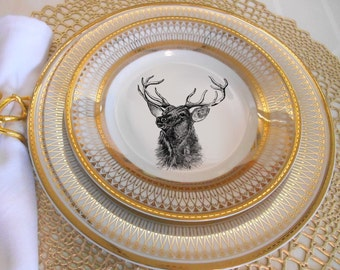 gold deer reindeer plates dinnerware dishes customized plates christmas plates