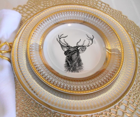 Gold Deer / Reindeer Plates Dinnerware Dishes Customized Plates Christmas Plates & Gold Deer / Reindeer Plates Dinnerware Dishes Customized