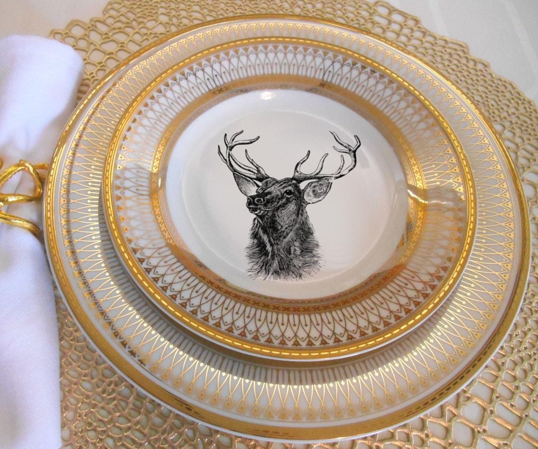 & Gold Deer / Reindeer Plates Dinnerware Dishes Customized