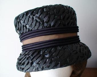 Striking Vintage Raffia Woven Straw Black Hat With Band