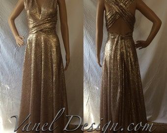 SEQUENCE Long Convertible Bridesmaid Dress  One Dress Fifteen Styles  Custom Made Champagne Color