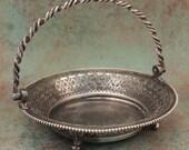Vintage Silver Plate Basket / Webster Silver Plate Basket / Silver Plate Candy Basket / Silver Plate Nut Basket / Pierced Silver Basket